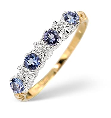 TheDiamondStore | Eternity Ring - AA Tanzanite 0.40ct & Diamond 0.01ct - 9K Gold
