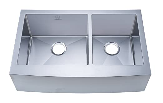 Stufurhome NW-3321D Apron/Farmhouse Stainless Steel Double Bowl Kitchen Sink, Satin, 33""