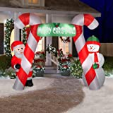 CHRISTMAS DECORATION LAWN YARD INFLATABLE AIRBLOWN SANTA & SNOWMAN CANDY CANE ARCHWAY 7.5' TALL