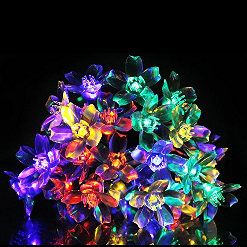 Bluettek Outdoor Solar Powered Blossom Led String Light, Solar Decorative Fairy String Lights For Christmas Tree, Indoor Room Home, Garden, Lawn, Patio, Backyard, Christmas Party, Wedding Party Decoration 50 Led 5M 16Ft, Ambiance Lighting, Waterproof (Mul