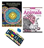 Mandala and Animals Coloring Books For Adults 4 Piece Bundle 2 Books 24 Colored Pencils and Sharpener