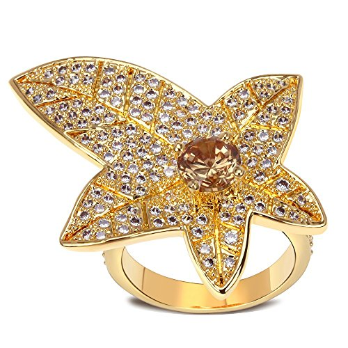 K-Design 2015 Leaf Ring Gold Champagne Gold Cz Ring New Design Fashion Crystal Rings Jewelry !High-Quality Women Jewelry Myself Jewellery 7.0