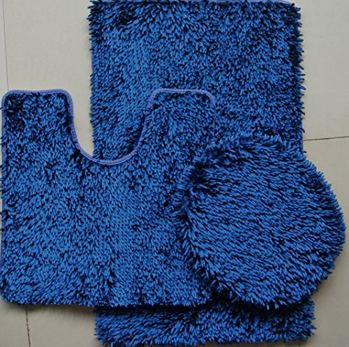 3 piece shiny chenille bath rugs set large 18 x 30 contour mat 18 x18 and lid navy blue home. Black Bedroom Furniture Sets. Home Design Ideas