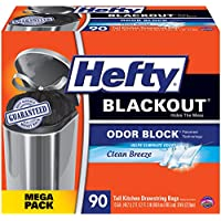 Hefty BlackOut Tall Kitchen Trash Bags, Clean Breeze, 90 Count