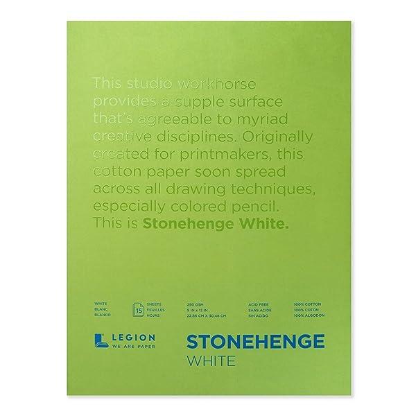 Legion Stonehenge Pad, 9 X 12 inches, White, 15 Sheets (L21-STP250WH912) (Color: Multi, Tamaño: 9x12 in)