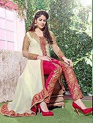 Krishna White Color Georgette Semi Stitch Dress Material With Dupatta..