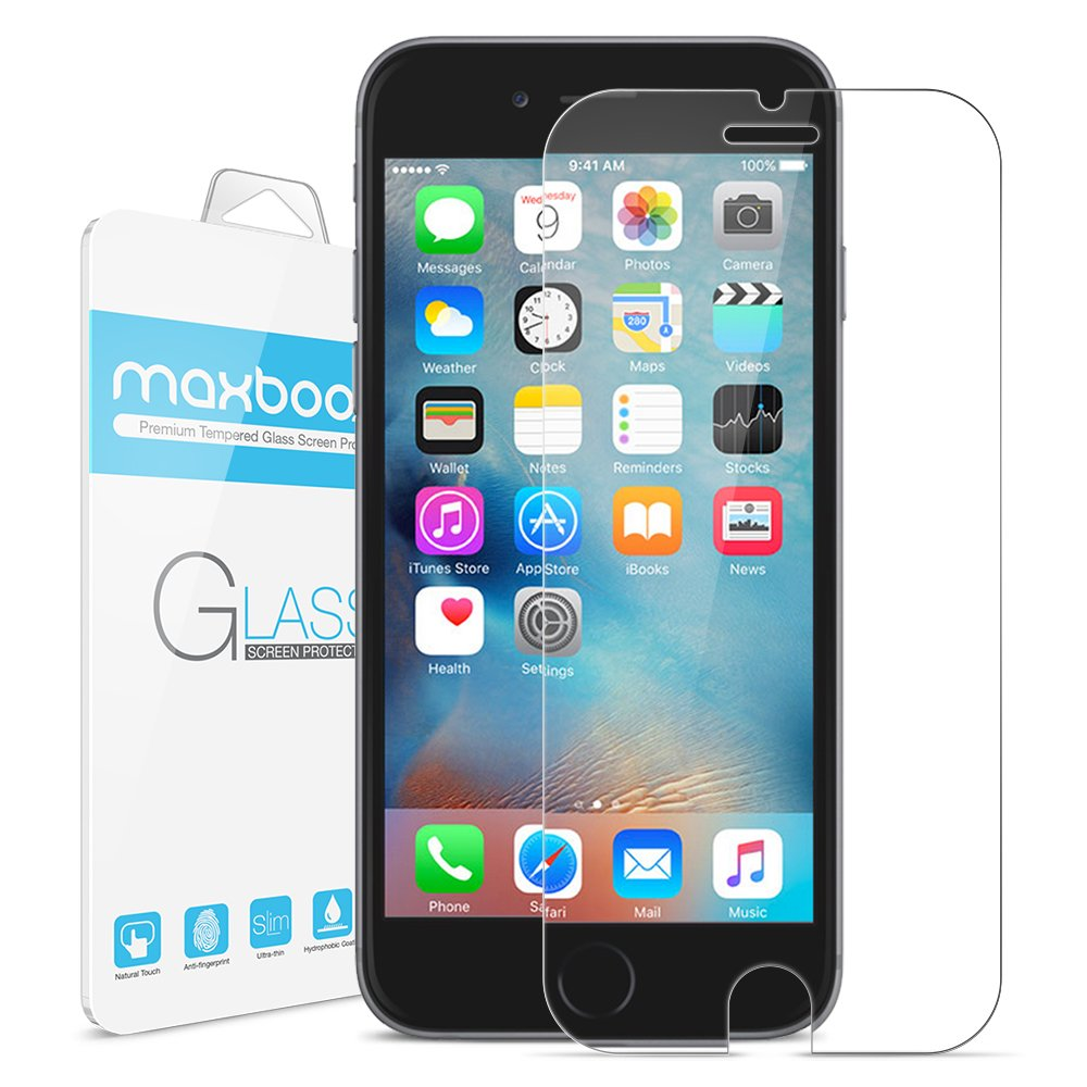iPhone 6S Screen Protector, Maxboost® Tempered Glass Screen Protector For iPhone 6 6S (3D Touch Compatible) 0.2mm Screen Protection Case Fit 99% Touch Accurate(Lifetime Warranty)- Clear