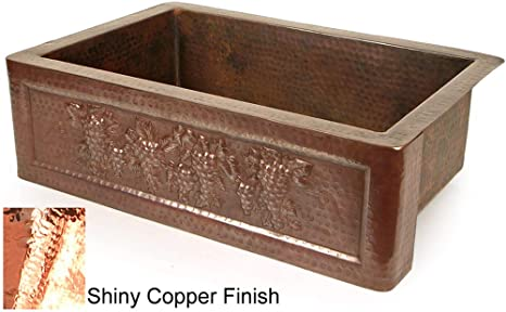 "Copper 33"" x 22"" Tuscan Grape Farmhouse Kitchen Sink Finish: Shiny Copper"