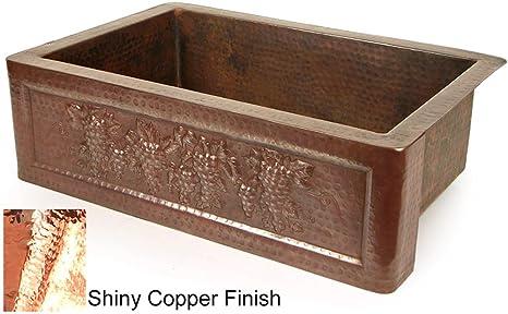"""Copper 33"""" x 22"""" Tuscan Grape Farmhouse Kitchen Sink Finish: Shiny Copper"""