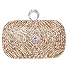 buy Fawziya Vintage Glamorous Rhinestones Baguette Knuckle Ring Prom Bag Paisley Evening Clutch Purse - Gold