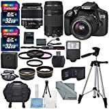 Canon EOS Rebel T6 DSLR Camera with EF-S 18-55mm f 3.5-5.6 IS II Lens - EF 75-300mm f 4-5.6 III Lens - and Deluxe Accessory Bundle