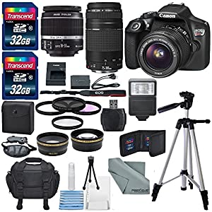 Canon EOS Rebel T6 DSLR Camera with 18-55mm, EF 75-300mm Lens (14 Items)