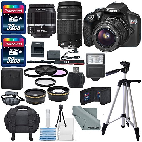 Canon EOS Rebel T6 DSLR Camera with 18-55mm, EF 75-300mm Lens, and Deluxe Bundle (Dslr Camera Digital compare prices)