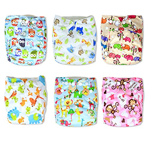 Trendy Owl Print Cloth Pocket Diapers 6 Pack with 12 Inserts | Strong Absorbent Material with Breathability | Leg Gussets against Leaks | Size Adjustable | Nice Baby Shower Gift (Urban Pod Car Seat Cover compare prices)