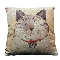 i-BOSOM 猫家族 クッションカバー 枕カバー ピローケース インテリア 45×45cm (にゃんこ)