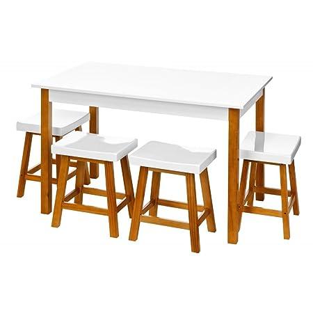 Fusion Living Bianco lucido tavolo da pranzo e quattro sgabelli