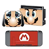 MARIO Nintendo Switch Controller Cover Skin Set for Console Dock Joy Con Vinyl Decal Sticker Protector by BR (Color: MARIO, Tamaño: Nintendo Switch)