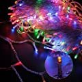 Fullbell 33ft Christmas LED Fairy Twinkle String lights 100 LEDs with Controller for Chirstmas Tree,Garden,Patio,Multi Strings Connectable(White Wire)(Multi-color)