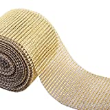 """Royal Imports® Gold Diamond Rhinestone Bling Ribbon Roll 30 Feet (x 4.5"""") - For Cake Wedding Decorations, Party Supplies, Vases and Floral Arrangements"""