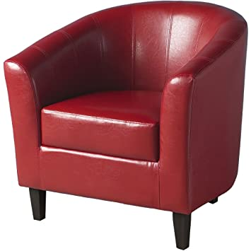 Fauteuil Tempo Tub Fauteuil imitation cuir Rouge