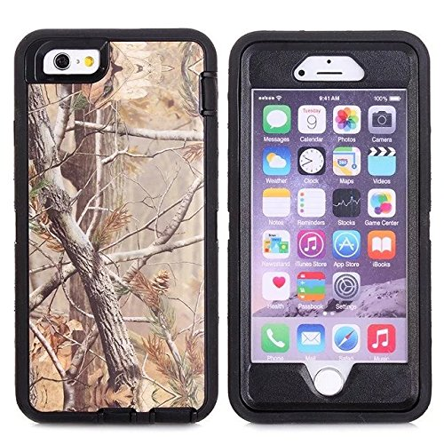 For Iphone 6s Plus Case - FiversTM Heavy Duty 3 in 1 Three Advantages Waterproof Dustproof Shakeproof with Forest Camouflage Desig Cell Phone Cases for Iphone 6s Plus 55 inch Tree- Black