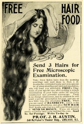 1902 Ad Professor J H Austin Mail In Hair Food Dandruff Cure Treatment Diagnosis - Original Print Ad