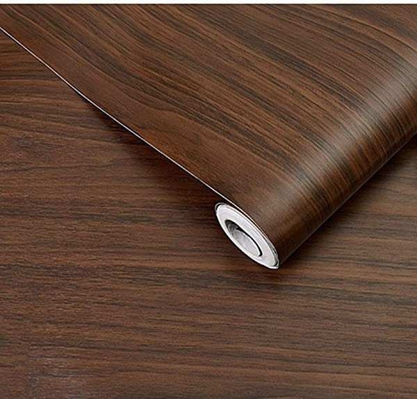 BESTERY REDODECO Adhesive Wood Grain Paper Peel and Stick Furniture Stickers Wallpaper Cabinets Wardrobe Contact Paper,15.8inch by 98in (Dark Brown) (Color: Dark Brown, Tamaño: 17.7Wx98L)