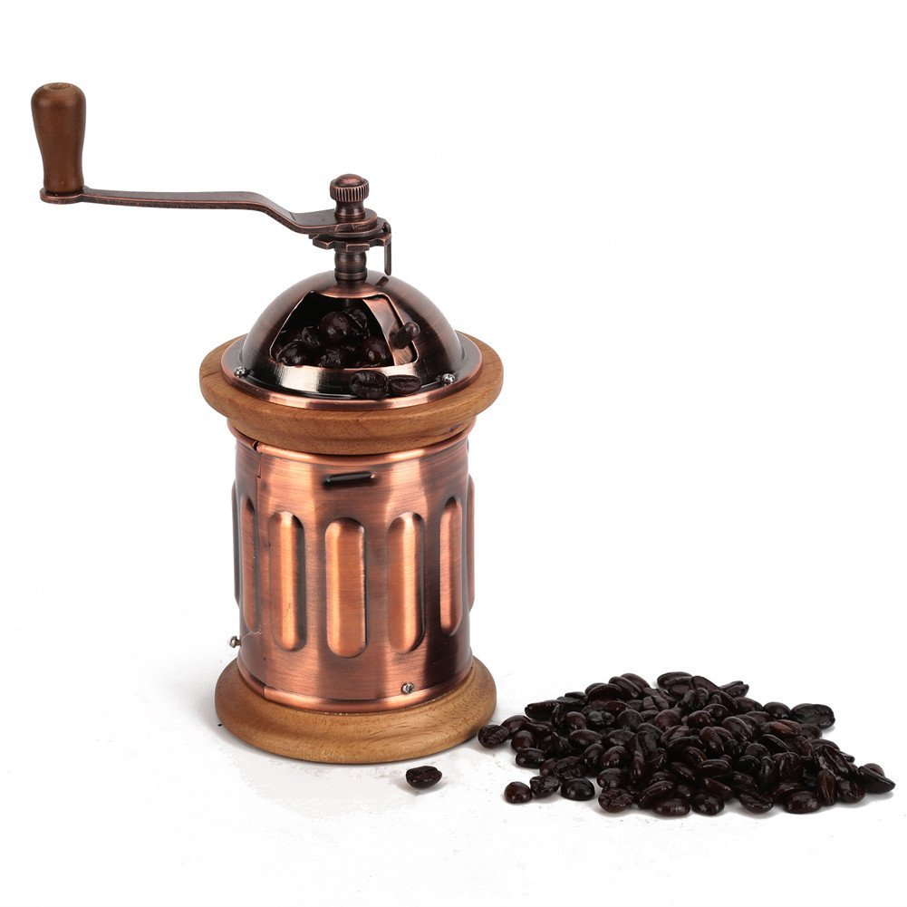 3E Home Manual Canister Stainless steel Burr Coffee Mill Grinder, Stainless Steel Top, and Antique Copper Body 1