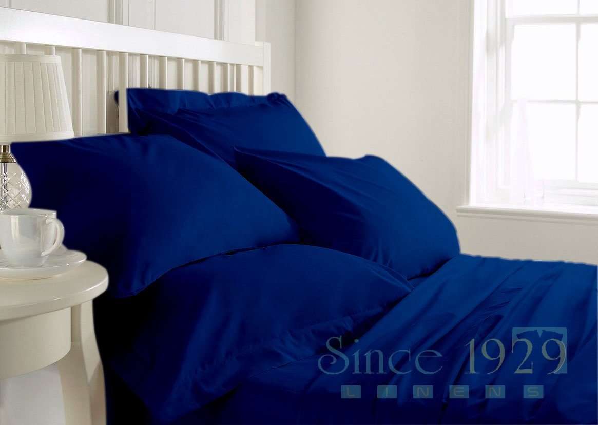 Since1929Linens 21 Inches Deep Pocket 650 TC 100 Percent Egyptian Cotton 4 Pc Twin Size Sheet Set Solid Royal Blue Color