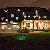 CrazyFire Projectable LED Night Light,White Snowflakes LED Projection Light,Sparkling LED Projector Landscape Spotlight,Wall and Tree Christmas Holiday Party Decoration Light (White)