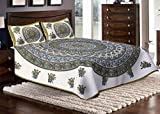Jaipuri haat Traditional Print Cotton Double Bedsheet with 2 Pillow Covers