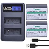Tectra 1500mAh Canon LP-E10 Replacement Battery (2 Pack) + LCD Display Dual USB Charger for Canon EOS Rebel T3 T5 T6 T7 Kiss X50 X70 X80 X90 EOS 1100D EOS 1200D 1300D 1500D 2000D 3000D Digital Camera (Tamaño: 2 Batteries + LCD Dual Charger)