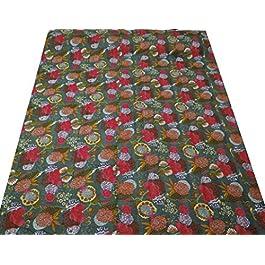 Diseño floral Gudri regalo nuevo Kantha Stitch edredón del algodón puro extensión de la cama Queen Size 103