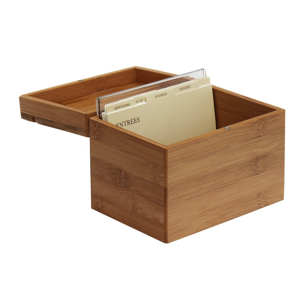 Oceanstar Bamboo Recipe Box with Divider, Natural 0