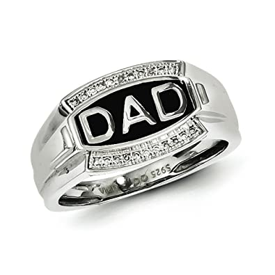 Sterling Silver Rhodium Plated Diamond Mens Dad Ring - Ring Size Options Range: R to V