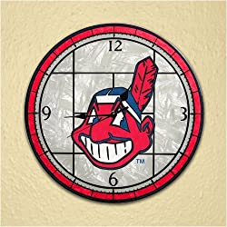 Cleveland Indians 12in Art Glass Clock MLB Baseball Fan Shop Sports Team Merchandise