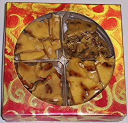4 Pack of Assorted Brittle-Peanut, Pretzel and Peanut, Walnut, & Almond in a Red & Gold Box
