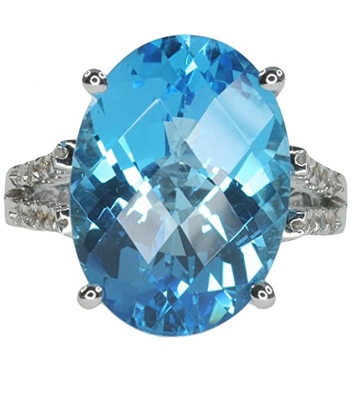 Blue Topaz Gemstone 14.60 carat Dazzling Cocktail Sterling Silver Ring size P