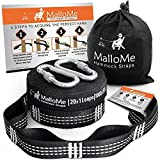 XL Hammock Straps - Hammock Tree Straps Set Versatile 2000+ LBS Heavy Duty 24-40 Loops & 100% No Stretch Suspension System Kit - Camping Hammock Accessories | 2 Carabiners | 10 or 12 Feet Options (Color: Black)