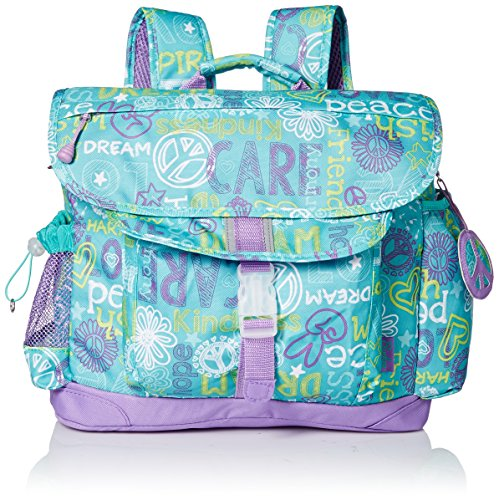 bixbee-hope-peace-love-kids-backpack-teal-medium