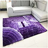 Ustide 3D Super Soft Thicken Living Room Carpets High Pile Durable Girls Bedroom Area Rugs Purple Gradient Shaggy Floor Runner Carpets