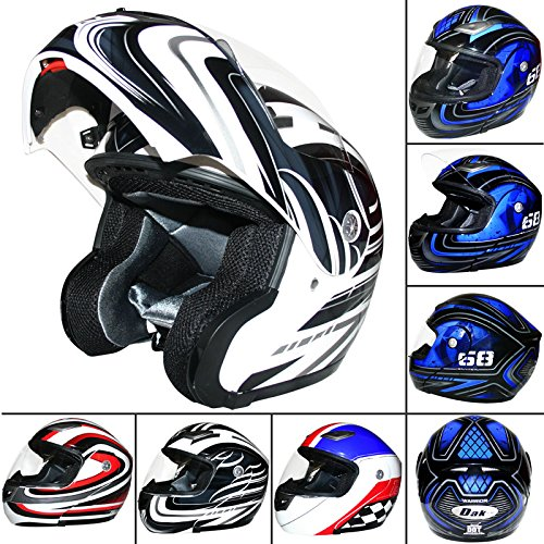 dak-ff936-flip-up-front-helmet-white-grey-l-scooter-motorbike-motorcycle-crash-helmet