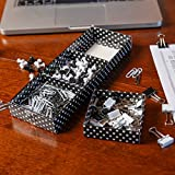 Home-X Office Supply Kit - Paper Clips, Pushpins and Binder Clips (Black & White)