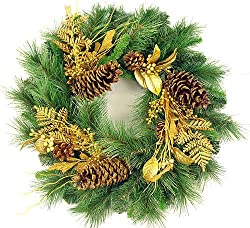 "24"" Gold Glittered Mixed Pine Artificial Christmas Wreath"