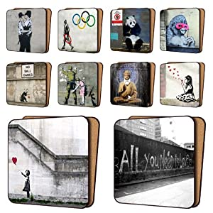 Banksy Coasters Mix1 - 10 New, Balloon Girl Hope, AYNIL All You Need Is Love & More -... by Art Okay