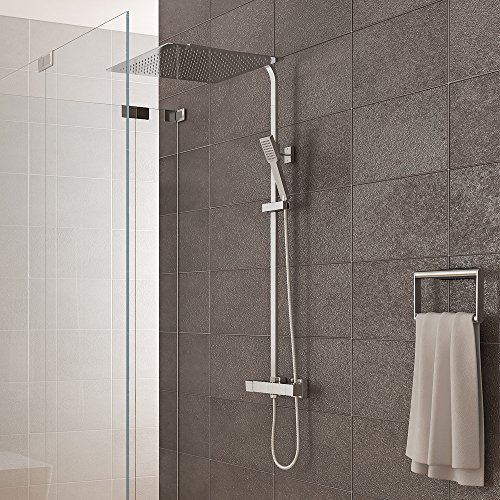 duschsystem inkl thermostat duschkopf 40x40cm handbrause duscharmatur dusche. Black Bedroom Furniture Sets. Home Design Ideas
