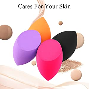 BEAKEY 4? Makeup Sponges with Contour Brush, Flawless Foundation Blending Sponge for Liquid Creams and Powders, Professional Beauty Sponge Blender