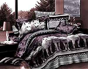 3 Piece Set Mountian Wolves Soft 3d Comforter Set (08) (Queen)