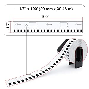 10 Rolls Compatible DK-2210 P-Touch 29mm x 30.8m(1-1/7 x 100') Continuous Address Paper Labels with Refillable Cartridge (Color: Dk2210(10-rolls))