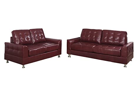 Poundex Bobkona 2-Piece Bonded Leather Sofa Set, Burgundy